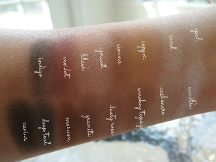 shimmer color swatches