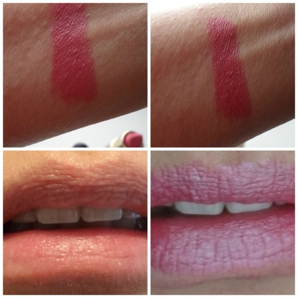 color swatch and lips finish