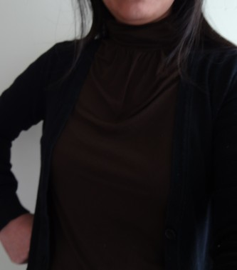 Dark Brown Turtle Neck blouse with black sweater (14)